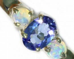 7.5 SIZE  TANZANITE AND OPAL RING  -FACTYORY DIRECT [SJ4562]