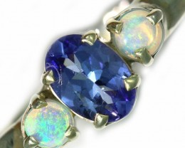 8 SIZE  TANZANITE AND OPAL RING  -FACTYORY DIRECT [SJ4564]