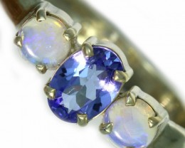 8 SIZE  TANZANITE AND OPAL RING  -FACTYORY DIRECT [SJ4566]