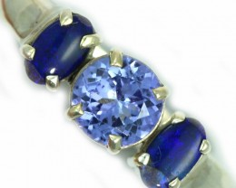 8 SIZE  TANZANITE AND OPAL RING  -FACTYORY DIRECT [SJ4569]