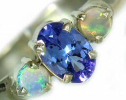 9 SIZE  TANZANITE AND OPAL RING  -FACTYORY DIRECT [SJ4572]