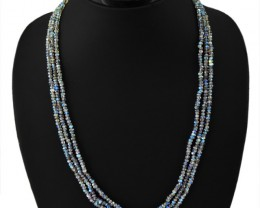 135.00 CTS NATURAL RICH BLUE FLASH LABRADORITE 3 LINE FACETED BEADS NECKLAC