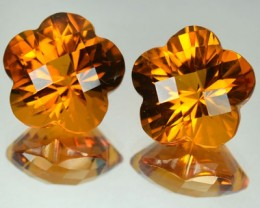 14.97 Cts Natural Golden Orange Citrine Flower 2 Pcs Brazil Gem
