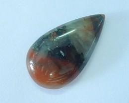 24ct Semiprecious Stone African Blood Jasper Teardrop Cabochon(17072501)