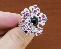Dramatic Ruby & Black Opal Sterling 925 Sterling Silver Ring Size - 8