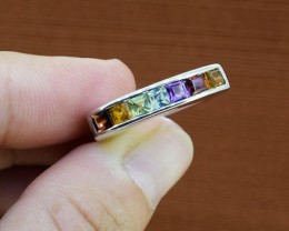 Subtle Multi-Stone Sterling Silver Ring Size - 7