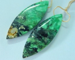40.5ct Natural Green Turquoise Marquise Earring Pairs(17072507)