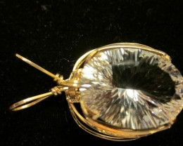 36 carat rock crystal 14 k gold wire wrapped pendant