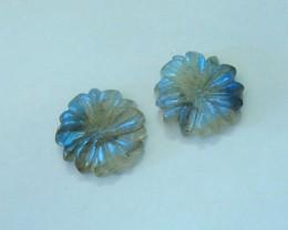14ct Blue Flash Labradorite Carving Flower Cabochon Pair(17072708)