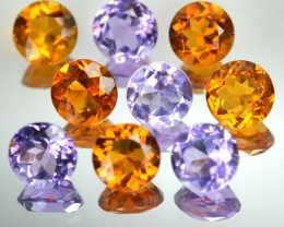 10.82 Cts Natural Amethyst/Citrine 7 mm Round 9 Pcs Parcel