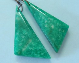 49ct Natural Amazonite Triangular Earring Beads,Women Gemstone Jewelry Desi