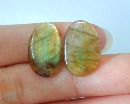 9ct Natural Labradorite Cabochon Pair (17073105)