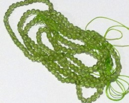"""2 STRANDS """"A"""" PERIDOT 3.00MM SMOOTH ROUND BEADS"""