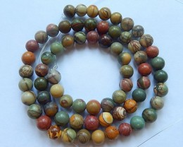 107ct Natural Muti Color Picasso Jasper Round Loose Beads,6x6mm,38cm In The