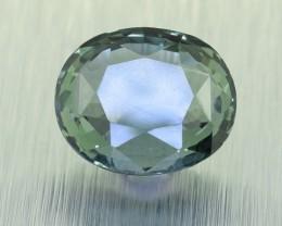 BIG Unheated Certified Green Sapphire 3.19 Ct. looks Amazing ! (00725)