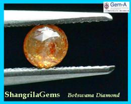 0.50ct 4.7mm round rose cut diamond cayenne orange red 4.7mm by 2.5mm