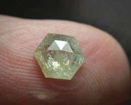 0.855ct 6.4mm Hexagon Rose Cut diamond ivory yellow from ShangrilaGems