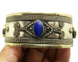 116.55 Crt Antique Style Afghani Bangle with Lapis Lazuli Gemstone