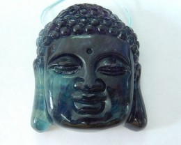 272.5ct Natural Rainbow Fluorite Carving Buddha Head Necklace Pendant (1708