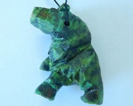 144ct Natural African Turquoise Handcarved Bear Necklace Pendant,Abstract H