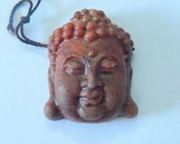 64.55ct Natural Mushroom Jasper Carving Buddha Head Pendant Bead,Godness Bu
