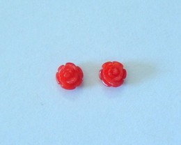 New Arrival! Natural Red Coral Carved Flower Earring Beads For Women, Gemst