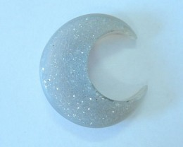 35.5ct Natural Drusy Geode Agate Moon Shape Rough Cabochon(17080610)