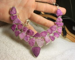 1$NR - 515.5 Carat Druzy / Sterling Silver Necklace - Gorgeous