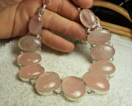 603.0 Carat Sterling Silver Rose Quartz Necklace - Gorgeous
