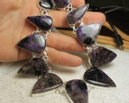 657 Carat Sterling Silver / Charoite Necklace - Gorgeous