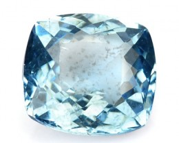 1.24 Cts Natural Blue Aquamarine Cushion Cut Brazil Gem