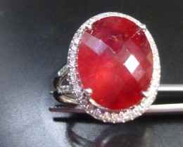 Next Bid Wins!! 14 KT White Gold Diamond ring Set with Rubelite Tourmaline