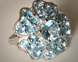 DAZZLING TOPAZ STERLING SILVER RING SIZE 7.0