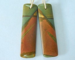 33.5ct Natural Muti Color Picasso Jasper Earrings Bead For Women(17080805)