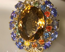 """Paradise' A Huge Cocktail Ring of Citrine Sapphires and Tanzanite gem"