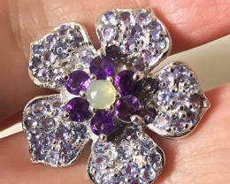 A Tremendous Tanzanite Opal Amethyst Orchid Ring Size 7