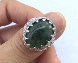 34ct Size 8.25 Burmese Jadeite Jade Sterling Silver 925 Ring