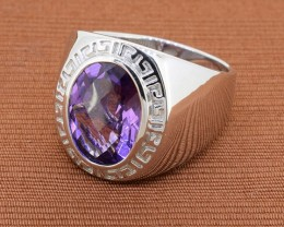 Bold Amethyst Sterling Silver Ring Size 9 (SSR0231)