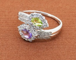 Amethyst & Peridot 925 Sterling Silver Ring SIze 10 (SSR0235)