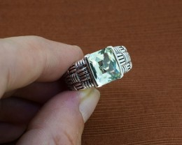 Green Amethyst 925 Sterling Silver Ring Size 7 (SSR0060)