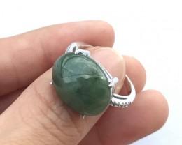 33ct Size 8 Burmese Jadeite Jade Sterling Silver 925 Ring