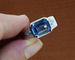Blue Topaz 925 Sterling Silver Ring Size 9 (SSR0232)