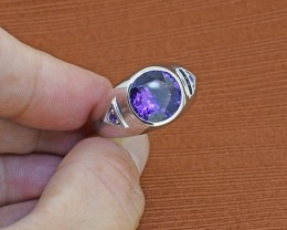 Amethyst 925 Sterling Silver Ring Size 10 (SSR0234)