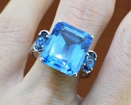 Blue Topaz 925 Sterling Silver Ring Size 8 (SSR0236)