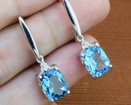 Blue Topaz 925 Sterling Silver Earrings (SSE0239)