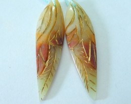 25ct Natural Amazonite Carved Leaf Earrings For Women,Fashion Handicraft Ge