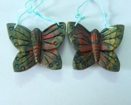 109.8ct Natural Muti Color Picasso Jasper Handcarved Butterfly Earring(1708