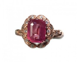 925 Sterling Silver Ring with 2.11 Carats Natural Pink sapphire