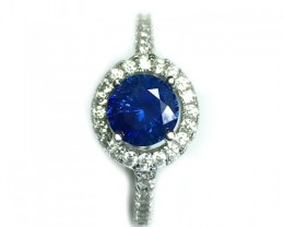 925 Sterling Silver Rhodium Plated Ring with 1.31 CTS Natural Blue Sapphire