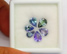 4.95Ct Natural Violet Blue Tanzanite Flower Pendant Set Pear Cut